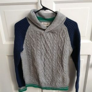 Lands End Boys Gray Cable Knit Sweater Size L